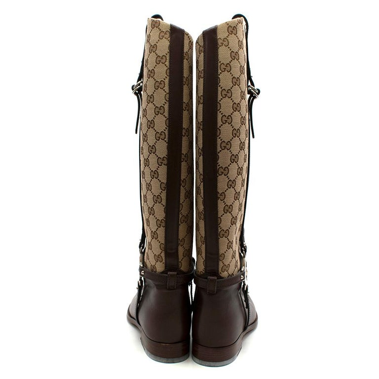 Gucci GG Supreme Leather Knee High Boots 40 In Excellent Condition For Sale In London, GB