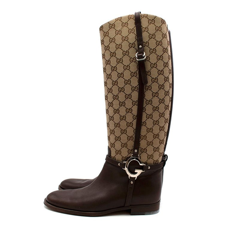 Women's or Men's Gucci GG Supreme Leather Knee High Boots 40 For Sale