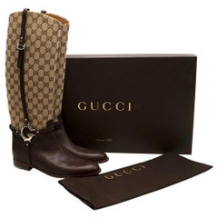 Gucci GG Supreme Leather Knee High Boots 40