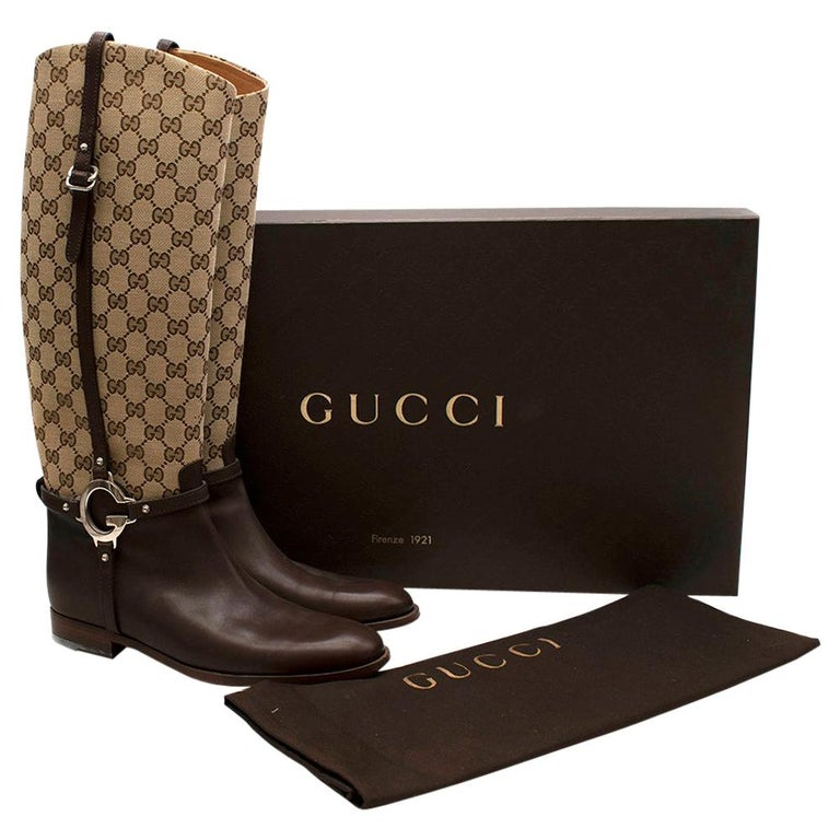 Gucci GG Supreme Leather Knee High Boots 40 For Sale