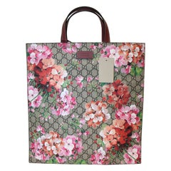 "Gucci ""GG"" Supreme Monogram Blooms Print Soft Tote Antique Rose"