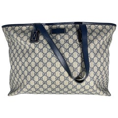 GUCCI GG Supreme Sherry tote bag PVC leather Navy Blue Large
