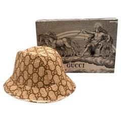Gucci GG Supreme Snakeskin Trimmed Raffia Fedora - Size L
