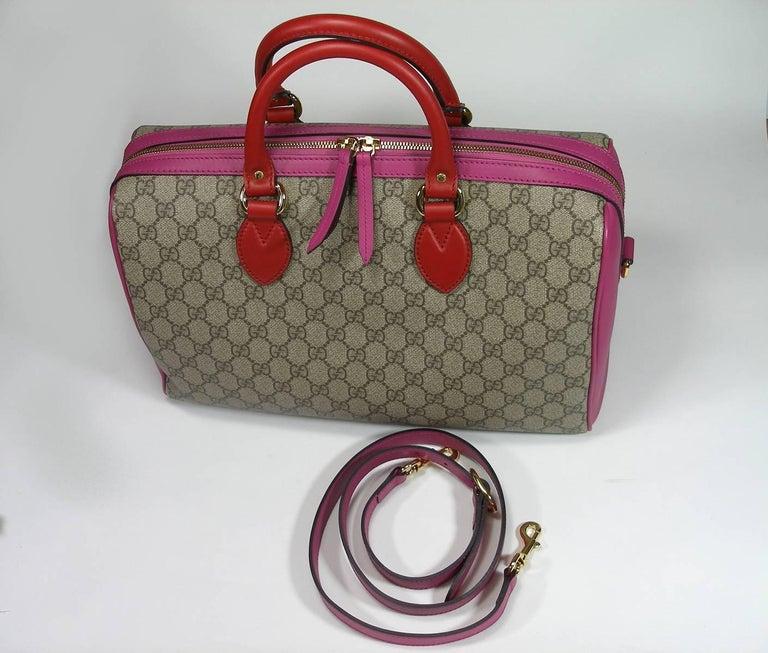 Gucci GG Supreme Top Handle Medium Boston Bag Multicolour Beige-pink-red For Sale 5