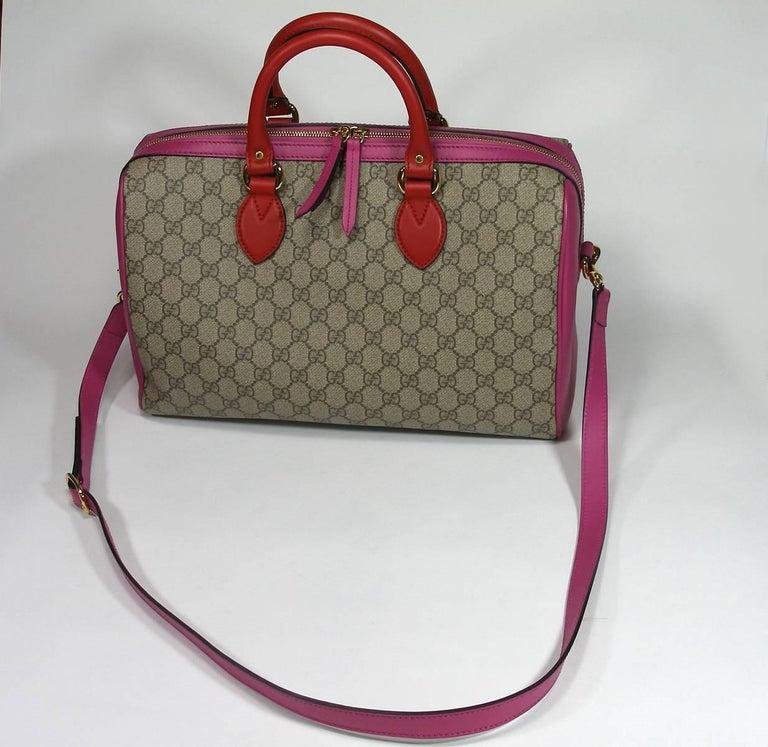 Gucci GG Supreme Top Handle Medium Boston Bag Multicolour Beige-pink-red For Sale 6