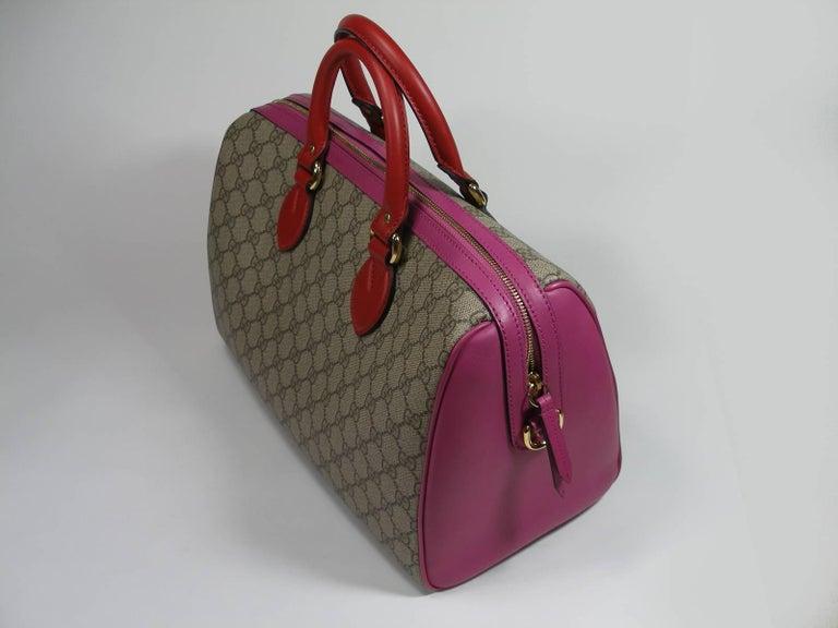 Brown Gucci GG Supreme Top Handle Medium Boston Bag Multicolour Beige-pink-red For Sale