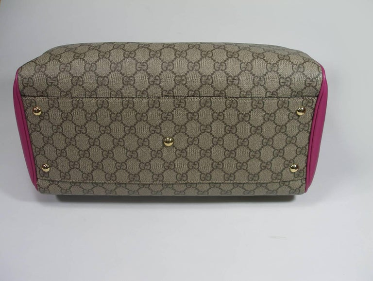 Gucci GG Supreme Top Handle Medium Boston Bag Multicolour Beige-pink-red In New Condition For Sale In VERGT, FR