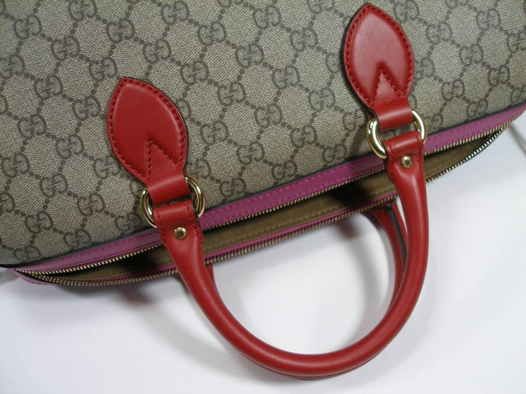 Women's Gucci GG Supreme Top Handle Medium Boston Bag Multicolour Beige-pink-red For Sale