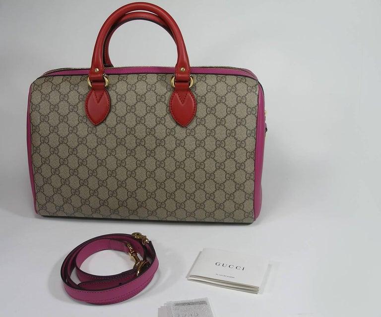Gucci GG Supreme Top Handle Medium Boston Bag Multicolour Beige-pink-red For Sale 2