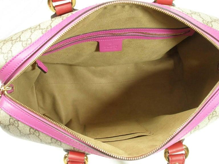 Gucci GG Supreme Top Handle Medium Boston Bag Multicolour Beige-pink-red For Sale 3
