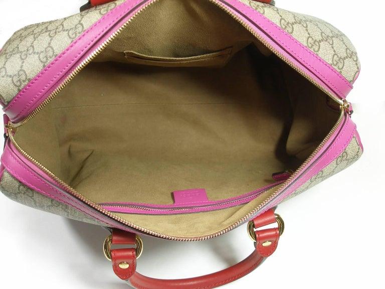 Gucci GG Supreme Top Handle Medium Boston Bag Multicolour Beige-pink-red For Sale 4