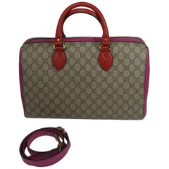 Gucci GG Supreme Top Handle Medium Boston Bag Multicolour Beige-pink-red
