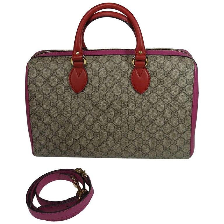 Gucci GG Supreme Top Handle Medium Boston Bag Multicolour Beige-pink-red For Sale
