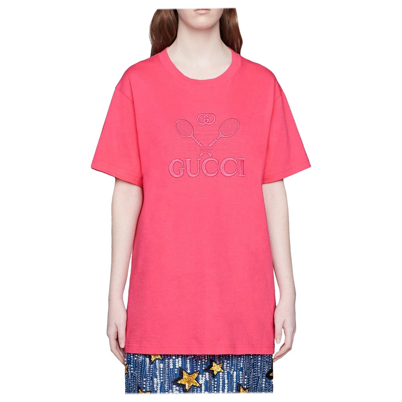 Gucci GG Tennis Pink Cotton Logo T-Shirt - Small (580968)