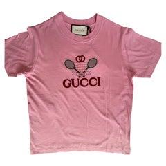 Gucci GG Tennis Sugar Pink Cotton Logo T-Shirt - XS (580762)