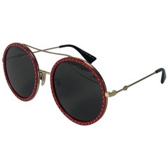 Gucci GG0061S Red Crystal Studded Round Frame Sunglasses