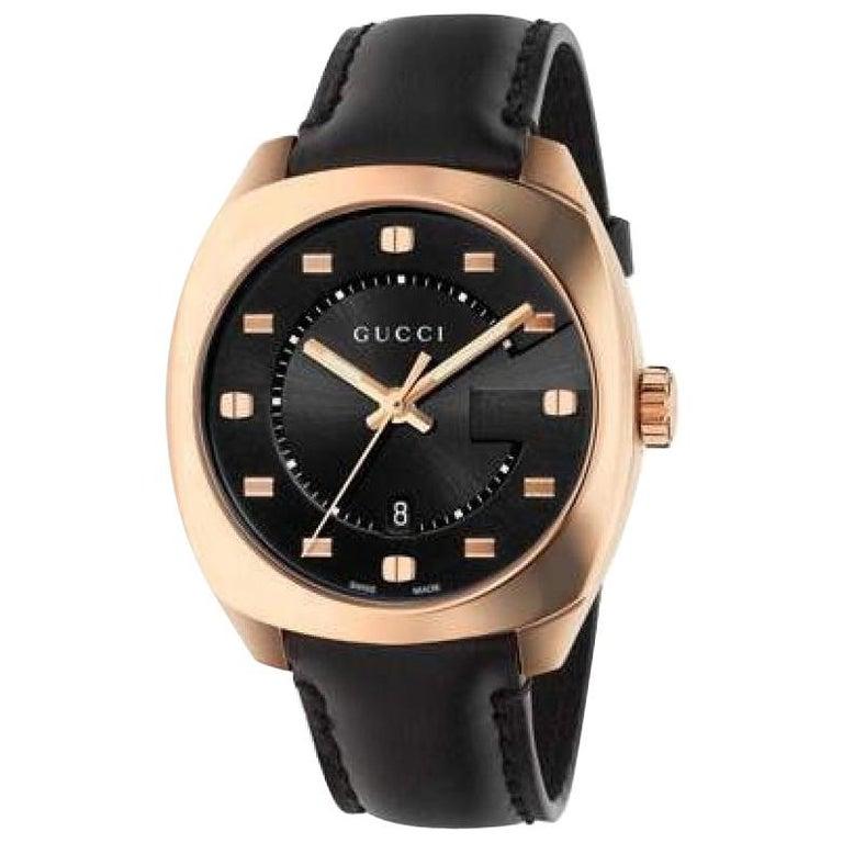 62e7bc6d17f Gucci GG2570 Black Dial Rose Gold-Tone Men s Watch Item No. YA142309 For  Sale