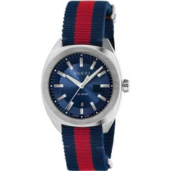 Gucci GG2570 Blue Dial Blue and Red Nylon Men's Watch Item No. YA142304