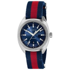 Gucci GG2570 Blue Dial Blue & Red Nylon Men's Watch YA142304