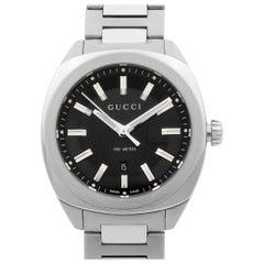 Gucci GG2570 Stainless Steel Black Dial Date Quartz Men's Watch YA142401