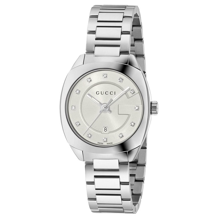 f50154cc357 Gucci GG2570 White Dial Stainless Steel Diamond Ladies Watch Item No.  YA142504 For Sale