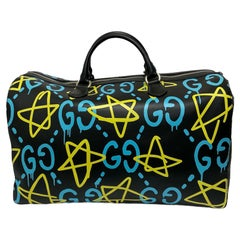 Gucci Ghost Bag in Black Leather with Yellow and Blue Decoration