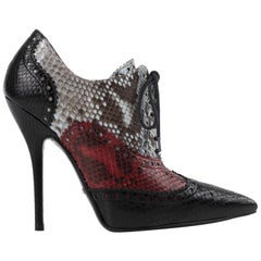 """GUCCI """"Gia"""" Multicolor Python Skin Leather Brogue Stiletto Ankle Boots Heels"""