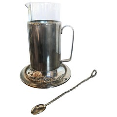 Gucci Glass Encased in Silver and Gold-Plate Nautical Martini Pitcher and Spoon