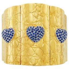 Gucci Gold and Sapphire Heart Bracelet
