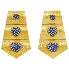 Gucci Gold and Sapphire Heart Earrings