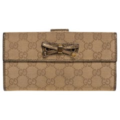 Gucci Gold/Beige GG Canvas and Leather Princy Continental Wallet