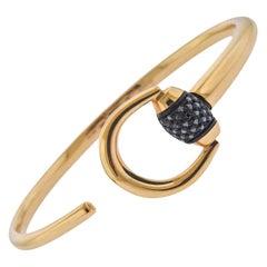 Gucci Gold Black Diamond Horsebit Cuff Bracelet