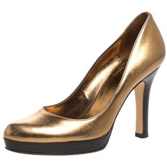 Gucci Gold/Black Leather Platform Pumps Size 36