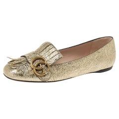 Gucci Gold Crinkled Leather GG Marmont Fringe Ballet Flats Size 36