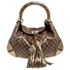 Gucci Gold Crystal Canvas and Leather Medium Babouska Indy Hobo