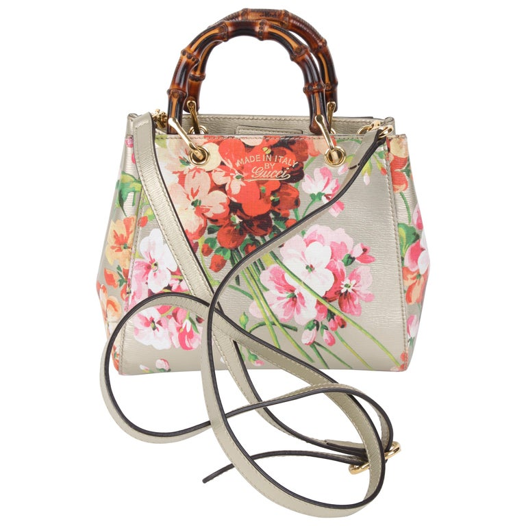 Gucci Gold Floral Bamboo Crossbody Handbag For Sale