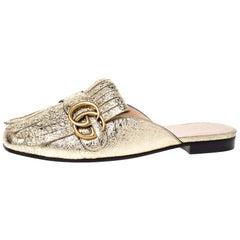Gucci Gold Foil Leather Marmont Kiltie GG Fringe Mules Size 36