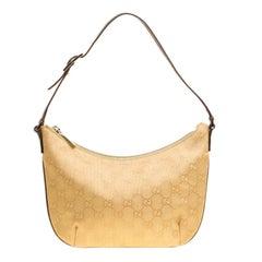 Gucci Gold GG Canvas Flat Shoulder Bag