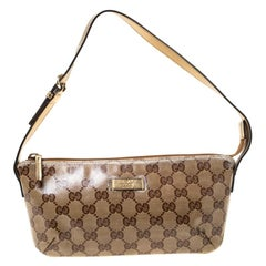 Gucci Gold GG Crystal Canvas and Leather Pochette