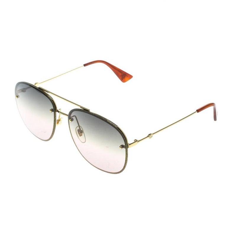 Gray Gucci Gold/Green Gradient GG0227S Aviator Sunglasses For Sale