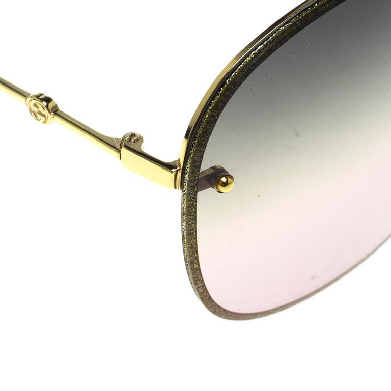 Gucci Gold/Green Gradient GG0227S Aviator Sunglasses In Excellent Condition For Sale In Dubai, AE