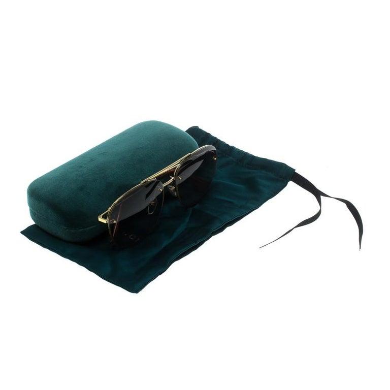 Gucci Gold/Green Gradient GG0227S Aviator Sunglasses For Sale 2