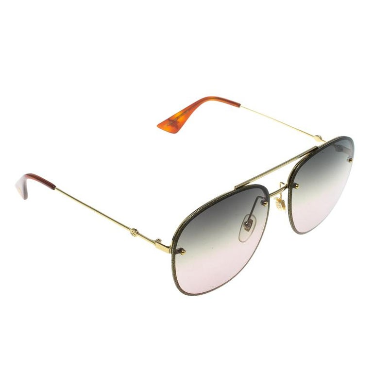 66bb95d7904b3 Gucci Gold Green Gradient GG0227S Aviator Sunglasses For Sale at 1stdibs