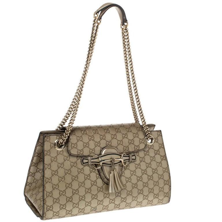 Gucci Gold Guccissima Leather Large Emily Chain Shoulder Bag In Fair Condition For Sale In Dubai, Al Qouz 2