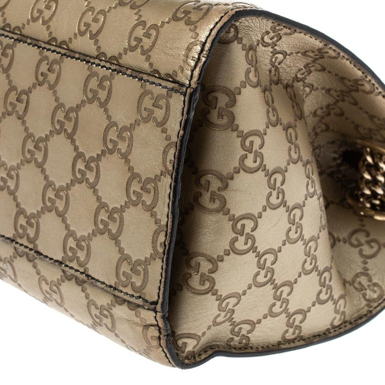 Gucci Gold Guccissima Leather Large Emily Chain Shoulder Bag For Sale 1