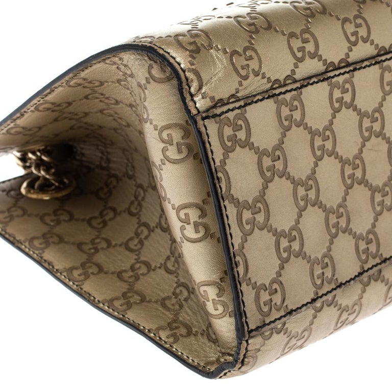 Gucci Gold Guccissima Leather Large Emily Chain Shoulder Bag For Sale 2