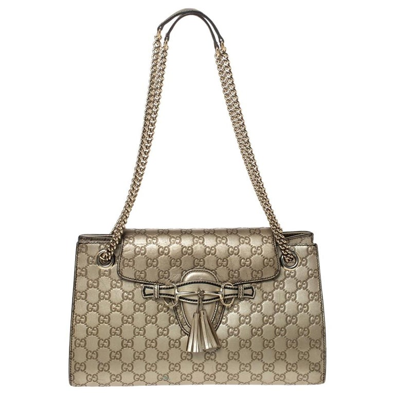 Gucci Gold Guccissima Leather Large Emily Chain Shoulder Bag For Sale