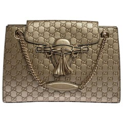 Gucci Gold Guccissima Leather Large Emily Chain Shoulder Bag