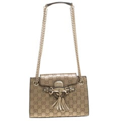 Gucci Gold Guccissima Leather Small Emily Chain Shoulder Bag