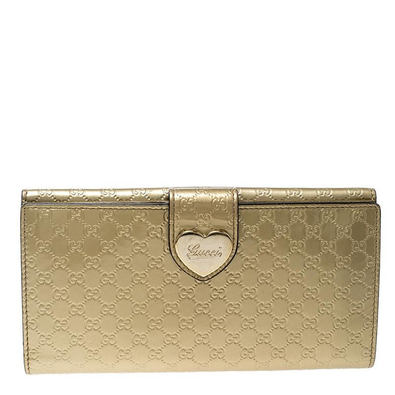 2f21177f743 Gucci Gold Guccissima Patent Leather Heart Continental Wallet at 1stdibs